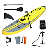 Odthelda 11' Inflatable Stand-Up Paddleboards Non-Slip Deck Repairing kit Paddle Backpack Pump