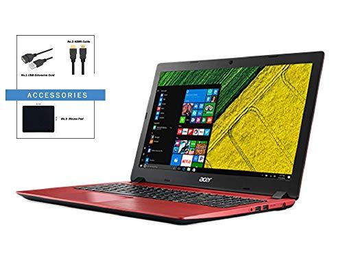 Acer Aspire 3 15.6 inch FHD Flagship Premium Laptop w/ Accessories | Intel Core i3-8130U | 4GB +16Goptane | 1TB HDD | Bluetooth | HDMI | Ethernet | WiFi | Red | Windows 10