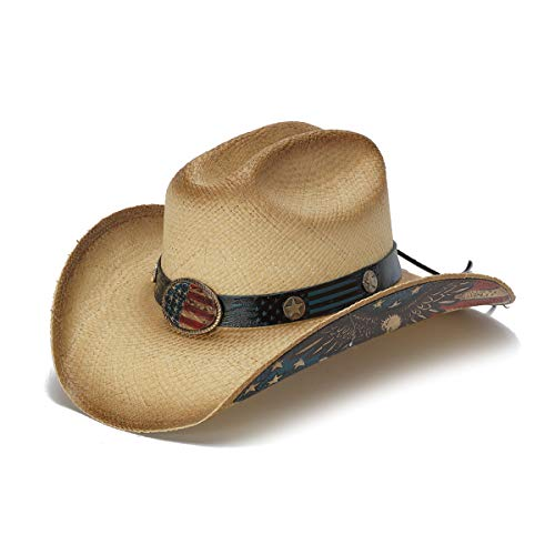 Stampede Hats Men's and Woman's American Citizen Vintage USA Flag Western Hat L Tea Stain