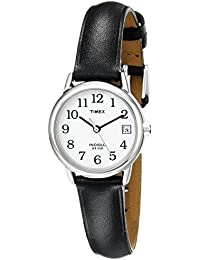 Womens T2H331 Indiglo Leather Strap Watch, Black/Silver-Tone/White