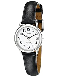 Timex Women's 2H331 Easy Reader With Date, Black Leather Watch