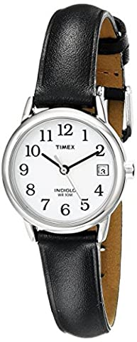 Timex Women's T2H331 Indiglo Leather Strap Watch, Black/Silver-Tone/White (Watch With Date)