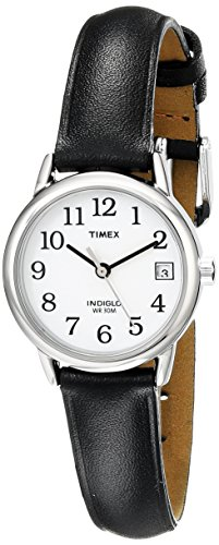 Timex Women's T2H331  Indiglo Leather Strap Watch, Black/Silver-Tone/White (Ladies Two Tone White Dial)