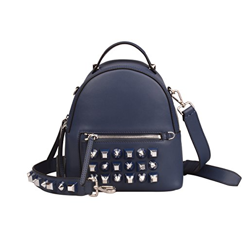 Women's Studded Genuine Leather Backpack Shoulder Handbags And Purses (Small, Blue) by QIDELL