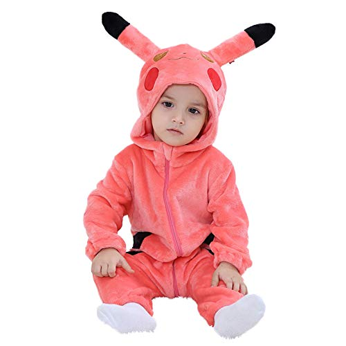 M&A Unisex Baby Romper Winter Flannel Onesie Pajamas Jumpsuit Infant Toddler Pikachu Coustume Cosplay Outfits