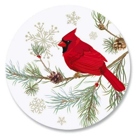 - Cardinal in Snow Envelope Seals- Set of 72 Holoiday Envelope Stickers