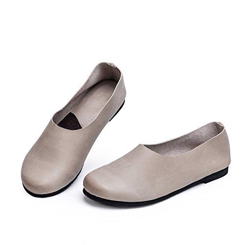 Sencillos Zapatos Retro Perezosos Sólido Moda Color Mano a Simple Planos literarios Zapatos Hechos dqrwrgnX