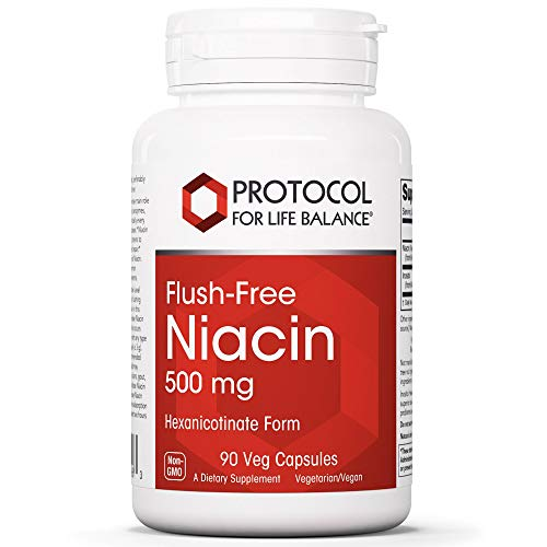 Protocol For Life Balance – Flush-Free Niacin 500 mg – B Vitamin for Improved Energy Production, Metabolism, Stress, Sex, and Emotional Support – 90 Veg Capsules