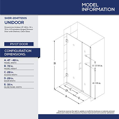 DreamLine Unidoor 47-48 in. W x 72 in. H Frameless Hinged Shower Door
