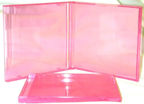 25 Transparent Pink Colored CD Jewel Boxes #CDBS10TP - Empty Replacement Jewel Cases for CDs! Brighten Up Your -
