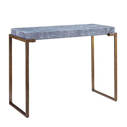 Faux Marble Top Console Table - Bronze Metal Base - Space Saving Slim Design