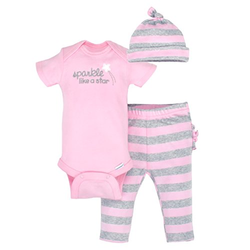 Gerber Baby Girls 3 Piece Organic Take-Me-Home Set, Gray/Light Pink, 6-9 Months Light Pink Onesies