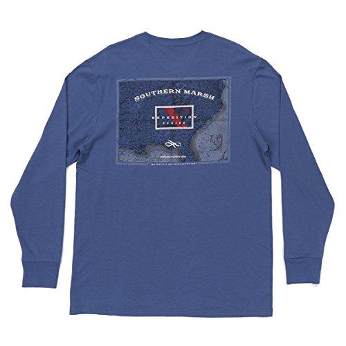 Southern Marsh Expedition Series Flag Long Sleeve T-shirt-Bluestone-xl