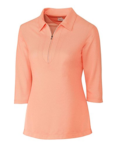 Cutter & Buck LCK08643 Women's Blaine Oxford 3/4 Sleeve Zip Polo Orange Burst/White Large