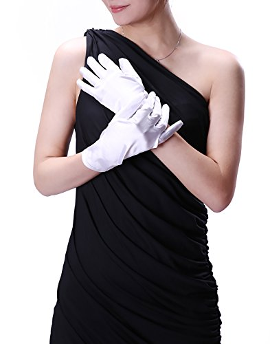 [HDE Womens Wrist Length Satin Gloves Adult Sized Evening Wear Bridal Accessory (White)] (Elvira Outfit)