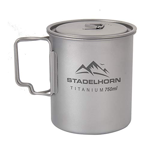 Stadelhorn Titanium Cup Ultralight 100% Pure Titanium for Camping, Backpacking, Hiking, and Bushcraft Survival. Stronger and Lighter vs Steel (750ml)