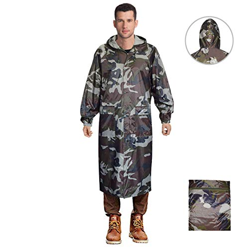 Long Rain Coat for Men Women Waterproof Poncho Jacket with Hood Portable Packable (XX-Large, Camo)
