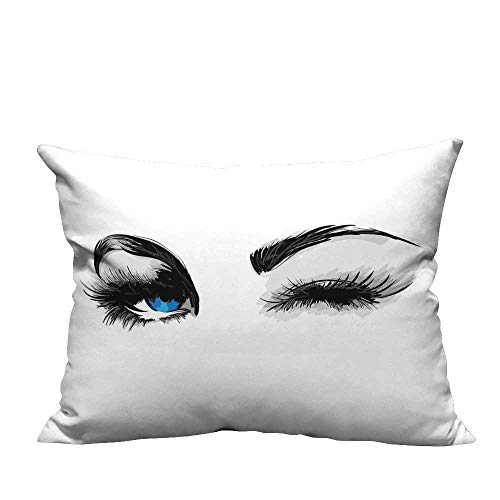 RuppertTextile Simple Pillowcase Flirty Attractive Woman with Blue Eyes and Thick Lashes Beauty Glamor Youth CushionW14 x L14