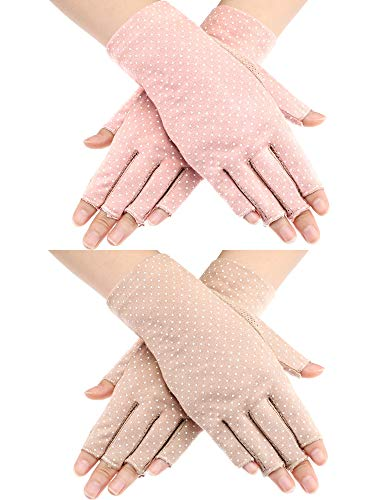 Maxdot 2 Pairs Sunblock Fingerless Gloves Non-slip UV Protection Driving Gloves Summer Outdoor Gloves for Women and Girls (Pink and Khaki)