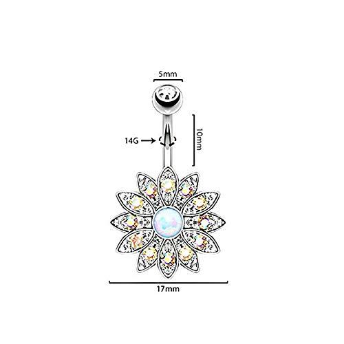 Opal Zircon Crystal Flower Dangle Navel Belly Button Ring Bar Piercing Jewelry (Styles - #U Silver + Opal #) Bat Dangle Belly Ring