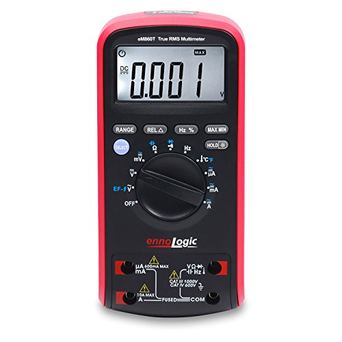 - TRMS Digital Multimeter eM860T by ennoLogic - Auto Ranging DMM, Voltage, Current, Resistance, Capacitance, Frequency, Temperature, Non-Contact Voltage Detect, Carrying Case