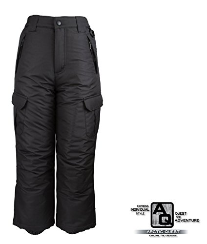Arctic Quest Womens Insulated Ski Snow Pants with Cargo Pockets Black Small (Woman Ski Pants Slim)