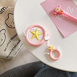 Airpods Case Star, Kpurple Cartoon Silicone Magic Array Airpod 1&2 Case Skin Kawaii Funny Fun Cool Keychain Ring Design…