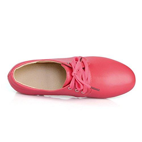 COOLCEPT Mujer Casual Cordones Clasico Plano Bombas Zapatos Boca Baja Zapatos Rojo