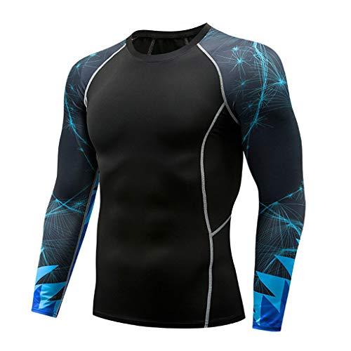 POQOQ T-Shirt Sport Fashion Men's Long Sleeve Yoga Fitness Print Casual Top -