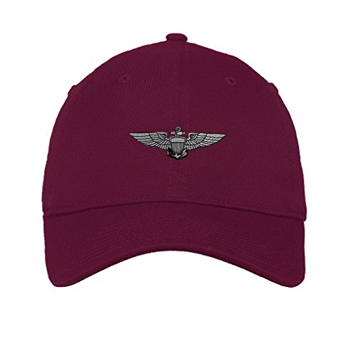 Speedy Pros Naval Wings Logo Military Embroidery Unisex Adult Flat Solid Buckle Cotton 6 Panel Low Profile Hat Cap - Burgandy, One Size