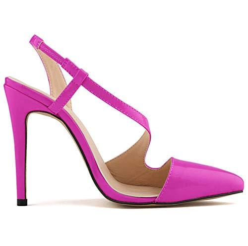 R FLYRCX Chaussures Dames de Mode tempérament élégant Couleur Cuir Verni personnalité Sexy Talons Hauts Chaussures de soirée 36 EU