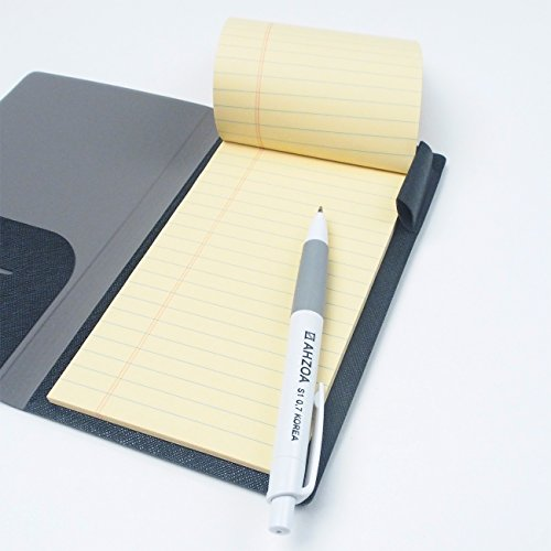 2 Pockets Slim Memo Padfolio F1 with AHZOA Pencil, Including Legal Writing Pad, Handmade 4.33 X 7.28 inch Folder Clipboard Writing Pad (Black) by AHZOA (Image #5)