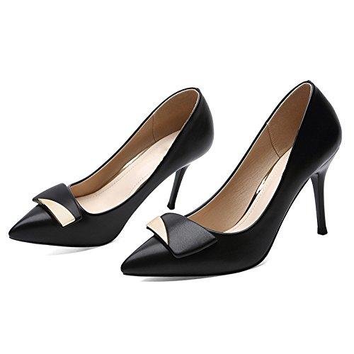 Alti 5 Black in Professione 9cm Scarpe 5 Scarpe da Sexy Donna UK Pelle Festa Discoteca Tacchi Lavoro Nero Corte 38 Nozze Moda di EU FxwTE6