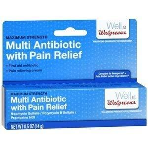 Walgreens Maximum Strength Multi Antibiotic Cream with Pain Relief, .5 oz