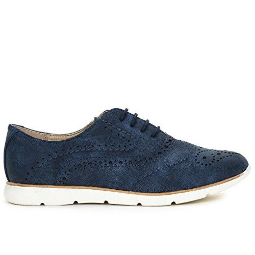 Zapatos OBSEL acordonados amp;Scarpe Zapatos Scarpe Planos Azul con Punta trabajada by Cnttqw4
