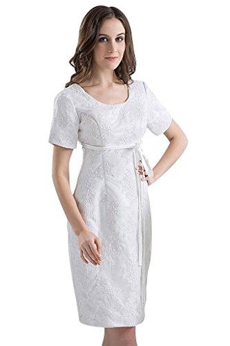 aermeln BRIDE GEORGE Kleid Laessige knielangen mit Weiß kurzen wU4BYw