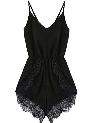 Month Women Strap Sleeveless Lace Chiffon Jumpsuit Rompers Playsuit Black Medium (Black Lace Shorts)