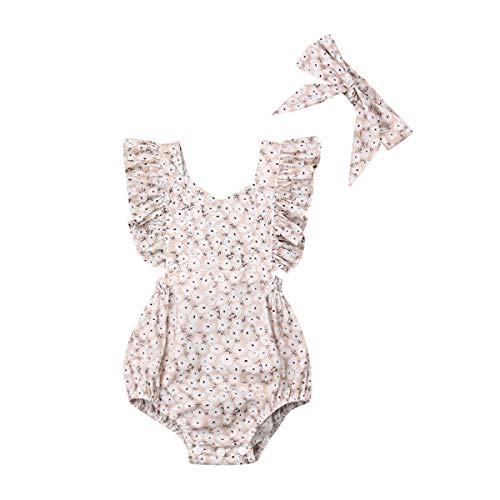 Newborn Baby Girl Romper Floral Print Vintage Jumpsuit Outfit Playsuit Clothes (6-12M, Headband/Apricot)