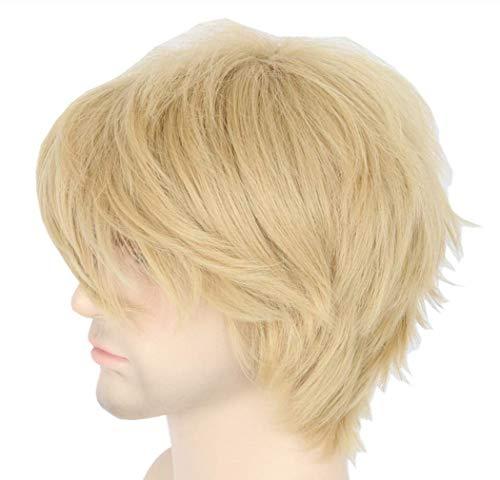 Topcosplay Women or Men Wig Blonde Short Layered Fluffy Cosplay Halloween Wigs