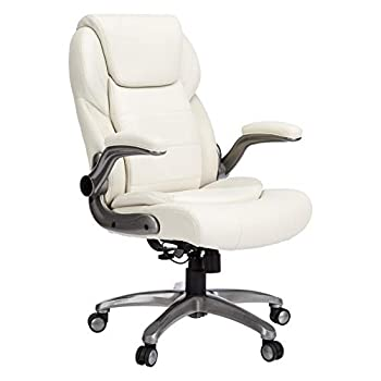 Image of AmazonCommercial Ergonomic High-Back Bonded Leather Executive Chair with Flip-Up Arms and Lumbar Support, Cream Home and Kitchen