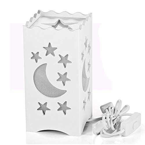 - Pandawill Table Light White Art Light with Moon and Star Shaped Carving, Desk Lamp Night Light for Bedroom, Dorm, Living Room