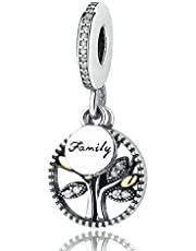 Family Tree Charms Bead Authentic 925 Sterling Silver Love Tree of Life Family Christmas Tree Dangle Charms fit Pandora Bracelet (A)