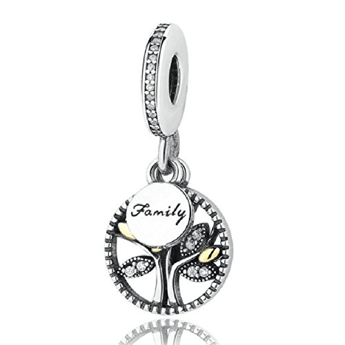 Family Tree Charms Bead Authentic 925 Sterling Silver Love Tree of Life Family Christmas Tree Dangle Charms fit Pandora Bracelet (A) ()