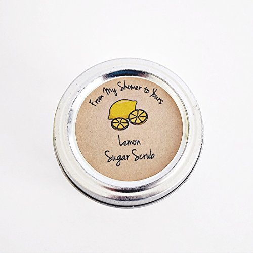 Lemon Sugar Scrub Labels for Bridal and Baby Shower Favors, From Our Shower To Yours, by Once Upon Supplies, 2'' Diameter, 40 Pcs by Once Upon Supplies (Image #1)