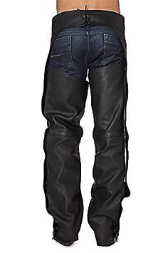 KENROD Chaps pour Moto en Cuir Couvre Votre Pantalon en Cuir Souple Couleur Noir Taille L