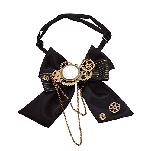 Blessume Steampunk Bowtie Gears, Black, One size]()