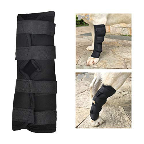 Dog Knee Brace for Breathable Canine Leg Wound Care Band Healing Recovery Prevent Lick with Velcro Sturdy Fix Universal, Compression Bandage