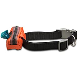 Dog Poop Bag Holder - Collar Wallet (Orange)