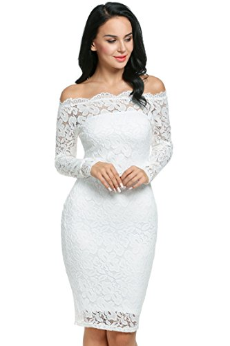 Meaneor Ladies Floral Lace Off Shoulder Long Sleeve Slim Evening Dress
