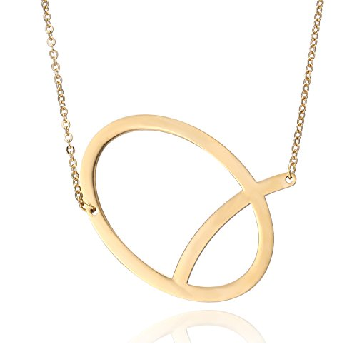 RINHOO Stainless Steel Gold Initial Alphabet 26 Letters Script Name Pendant Chain Necklace from A-Z(P) ()